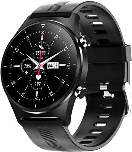 Relojes inteligentes para teléfonos Android iOS Fitness Tracker IP68 impermeable con llamada Bluetooth ritmo cardíaco y monitor de presión arterial Smartwatch-Negro Silicona