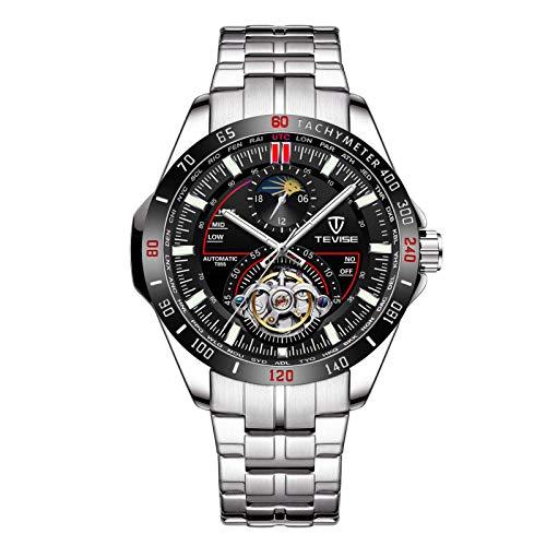 JTTM Reloj Automático De Pulsera Acero Inoxidable Impermeables Tourbillon Mecánico Regalos De Relojes para Hombres,Black Red