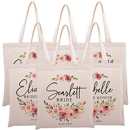 Personalized Printed Cotton Canvas Tote Bag | Custom Handbag Gift for Events | Wedding Bachelorette Baby Shower Birthday Party Christmas Bridesmaid | Watercolor Flowers | C1D07 | Set of 6