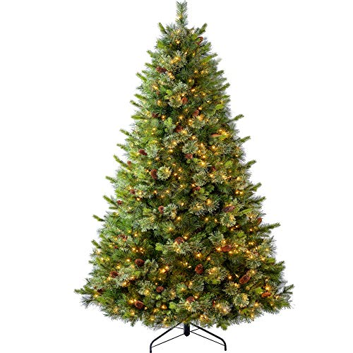 Amaoasis Pre-lit Fir Christmas Tree 6.5 ft with 500 Lights,Artificial Pine Xmas Trees, Flocked with Real Full Pine Cone Decor