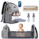 XINSILU All in 1 Diaper Bag, Baby Bag with Changing Station, Expandable Baby Diaper Bag for Girl, Boy, Dad and Mom, Travel Baby Diaper Bag Built-in USB Port, Large Capacity Waterproof, Light Gray