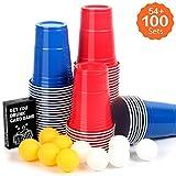 Upchase【100+10+Jeu de Cartes】Beer Pong Cup Kit, Gobelet Plastique Beer Pong, Jeu de Cartes Kit, Rouges et Bleues Beer Pong Cup, 16oz 473ml, et 10 Balles, Jeu de Société Adulte pour Apéro & Soirées