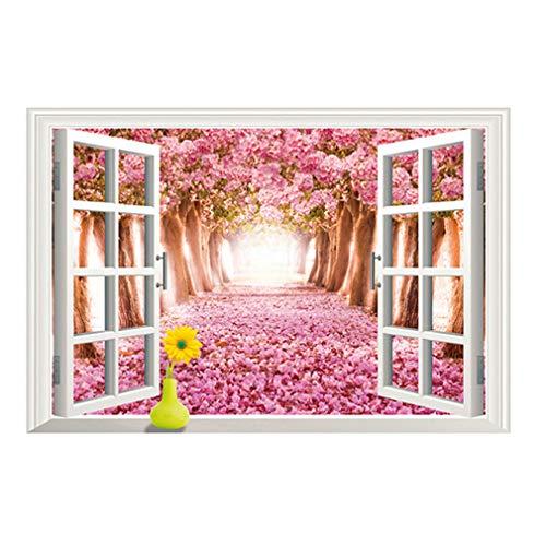 3D fenêtre en forme d'avenue avec des paysages de sakura Autocollant mural de PVC à la maison papier peint en vinyle pour la décoration papier peint au salon, à la chambre et à la cuisine les photos d'art DIY à la salle de jeux pour des enfants