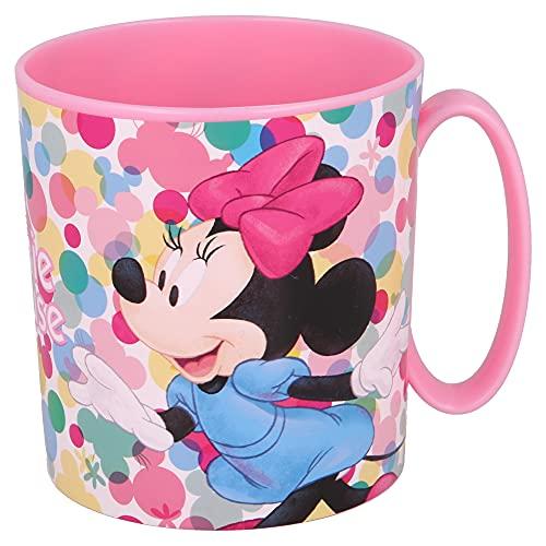 MINNIE MOUSE | Taza para niños y niñas con diseño de personajes - 350 ml | Taza infantil de plástico para microondas - Libre de BPA