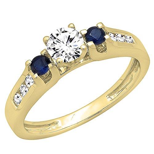 Anillo de compromiso Dazzlingrock Collection de oro de 14 quilates con zafiros y diamantes azules blancos redondos