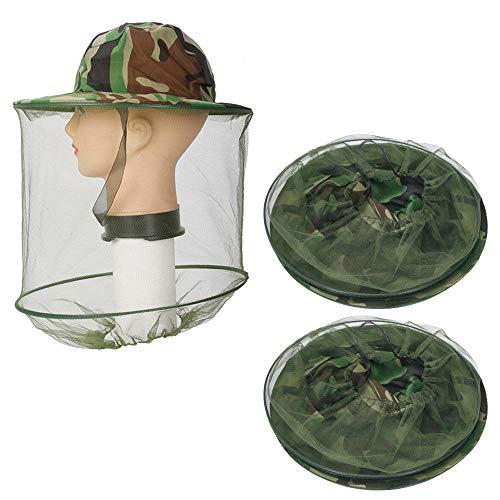 Lezed Moskito Kappe Kopfnetz Anti Moskito Maske Kopfschutz Nackenschutz NetzHut (2 Stück,Camouflage)