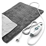 Pure Enrichment PureRelief XL (12'x24') Electric Heating Pad for Back Pain and Cramps - 6 InstaHeat Settings, Machine-Washable, Ultra-Soft Microplush, Auto Shut-Off, and Moist Heat (Charcoal Gray)
