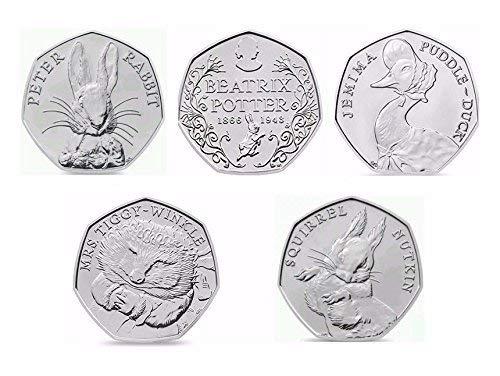 Beatrix Potter 2016 50p - Juego completo de 5 unidades de 50 peniques con soporte para monedas de cápsula, bolsa sellada sin circulación de menta real