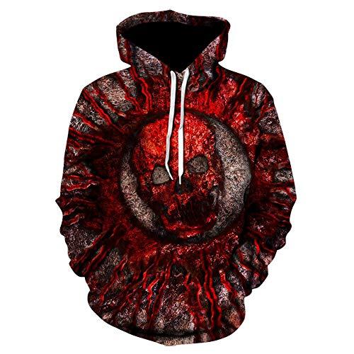 Hoodie Kapuzenpullover Gothic Skull Hoodie Herren Hip Hop Hoodie Herren/Damen 3D Sweatshirt Print Fake Jeansjacke Hoodie Schwarz Pullover SizeXXL We-695
