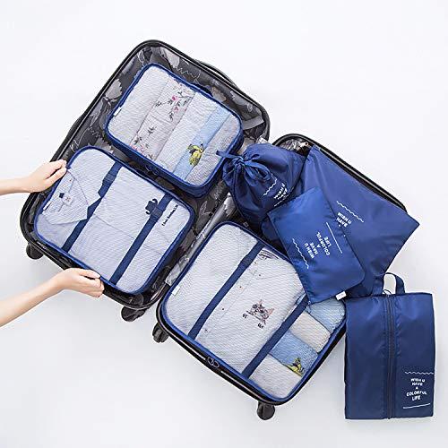 トラベルポーチセット 7点セット パッキングポーチ アレンジケース 旅行用 防水 軽量 大容量 旅行用品収納バッグ 衣類収納袋 海外 旅行 出張 整理用収納ケース バッグインバッグ インナーバッグ (紺色)