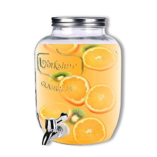 Schramm® Getränkespender ca. 3,5 Liter mit Schraubdeckel Zapfhahnflasche Weckglasoptik Saftspender