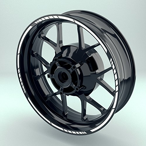 OneWheel Felgenrandaufkleber für Motorrad   17 Zoll   Komplett Set für Vorder- und Hinterreifen   Rim Sticker (Weiß Design 2)