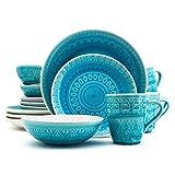 Euro Ceramica Fez Collection 16 Piece Ceramic Reactive Crackleglaze Dinnerware Set, Service for 4, Teardrop Mandala Design, Turquoise