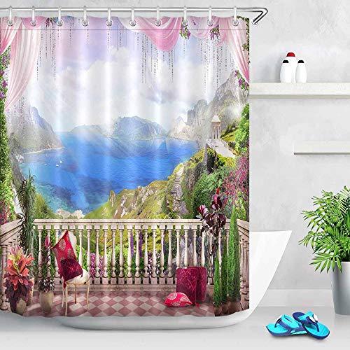 Digital Flower Bridge Arch View Duschvorhang in der Kleinstadt Szenischer Bereich Badezimmervorhang Wasserdichte Badewanne Dekoration Wasserdichter und schimmelresistenter Duschvorhang A1 150x180cm