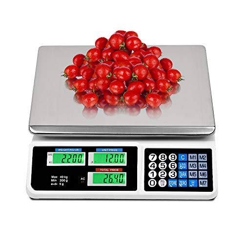 EASIGO 88LB Digital Price Scale Electronic Price Computing Scale LCD Digital Commercial Food Meat Weight Scale, Upgraded Version