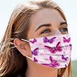 50pcs Butterfly Disposable Face Masks Safety Soft Breathable Elastic Ear Loop Face Masks for Women Daily Comfy Pink Mask(pink butterfly, 50)