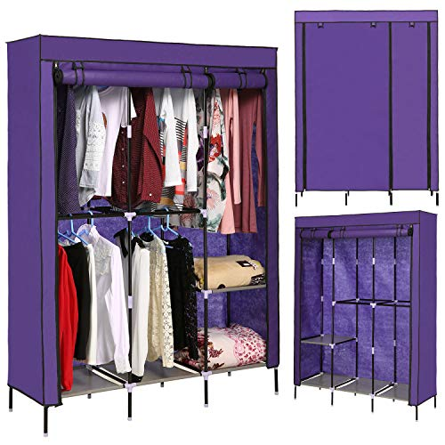 emdaot Portable Clothes Closet Organizer Wardrobe with Double Rod Shelves Freestanding Storage...