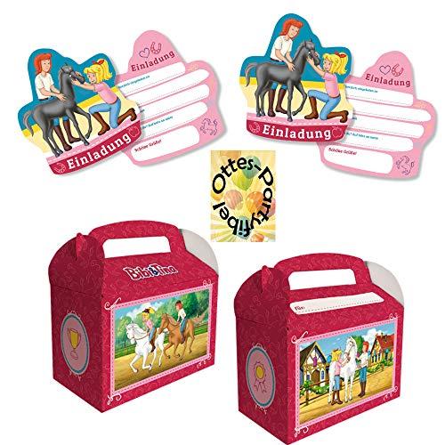 HHO Bibi & Tina-Party-Set Erweiterung 1 : 6 Einladungen 6 Geschenkboxen