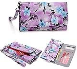[Floral Print] Women's Wallet Clutch Wristlet Case |Purple Baby Blue Grey| Apple iPhone 6 5S 5C 5 4S 4, Samsung Galaxy S5 S4 S3, Google Nexus 5, LG G2, HTC One M7 [Up to 5.8 x 3.1 Inch Phone]