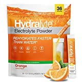 Hydralyte Electrolyte Hydration Powder Packets, All-Natural Instant Dissolve ORS Drink Mix, Orange 36 Count
