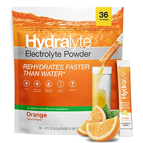 Hydralyte All-Natural Electrolyte Hydration Powder Sticks, Instant Dissolve ORSDrink Mix, Orange, 36 Count