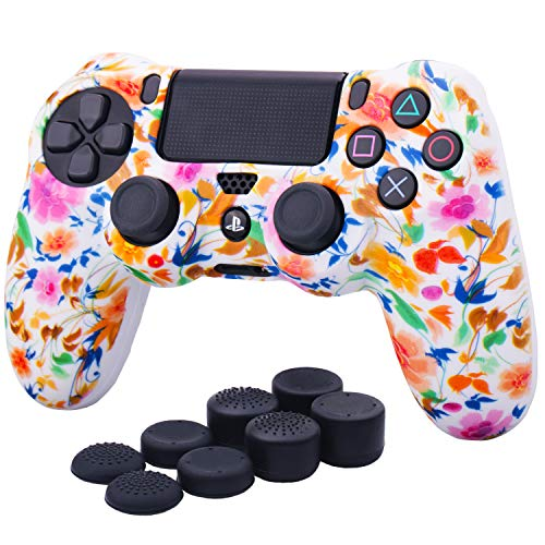 YoRHa Water Transfer Printing Camouflage Silicone Cover Skin Case for Sony PS4/slim/Pro dualshock 4 Controller x 1(Small Flowers) with Pro Thumb Grips x 8