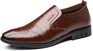 Shangruiqi Men's Fashion Oxford Casual Low Top Breathable Pure Color Slip On Brogue Shoes Abrasion Resistant (Color : Brown, Size : 7 UK)