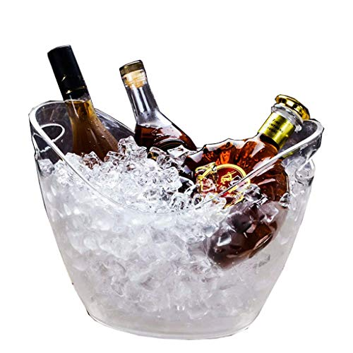 DLINMEI cubeta de Hielo Brillante, plástico acrílico Transparente, Barra Transparente de Carga LED KTV para Fiesta, tamaño de Cerveza, cubeta de Hielo, Cerveza, Vino, champán