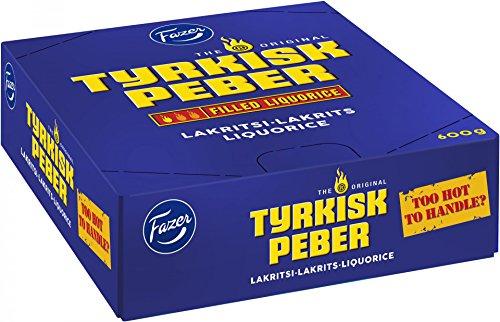 Fazer Tyrkisk Peber – Original Finlandés Negro Licorice con sabor a pimienta palo de relleno 20 g, paquete de 30