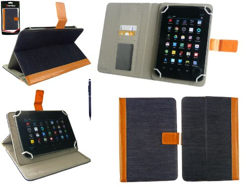 Emartbuy® AlpenTab Heidi 7 Zoll Tablet PC Universalbereich Denim with Tan Trim Multi Winkel Folio Executive Hülle Cover Wallet Hülle Schutzhülle mit Kartensteckplätze + Blau 2 in 1 Eingabestift
