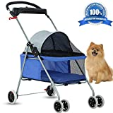 Dog Stroller Pet Stroller Cat Strollers Jogger Folding Travel Carrier Durable 4 Wheels Doggie Cage with Cup Holders 35Lbs Capacity Waterproof Puppy Strolling Cart for Small-Medium Dogs, Cats
