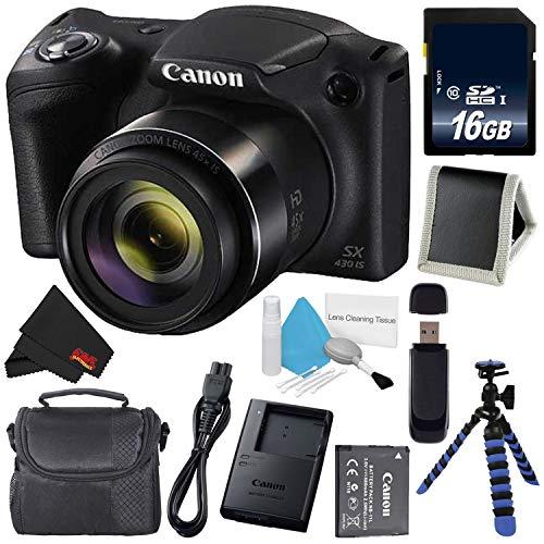 Canon Powershot SX430 is Digital Camera (Black) (International Model) + 16GB SDHC Class 10 Memory Card + Small Soft Carrying Case + Memory Card Wallet + SD Card USB Reader + Microfiber Cloth Bundle