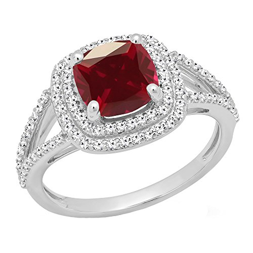 Dazzlingrock Collection Sterling Silver 7 MM Cushion Lab Created Ruby & Round Diamond Engagement Ring, Size 7