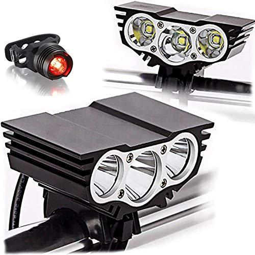 Led-fahrradleuchten, Mountainbike-leuchten, Frontleuchten, Starke Scheinwerfer Aus Aluminiumlegierung Mit 6000 Lumen (schwarz)
