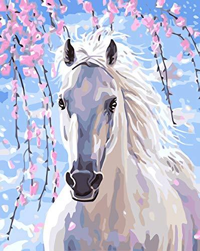BOSHUN Malen nach Zahlen DIY Ölgemälde für Kinder Erwachsene Anfänger- Weißes Pferd 16x20 Zoll Leinwanddruck Wandkunst Dekoration (Ohne Rahmen)