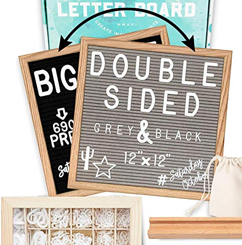 Letter Board 12'x12' Double Sided (Black & Gray) +690 PRE-Cut Letters +Bonus Cursive Words +Stand +UPGRADED WOODEN Sorting Tray | Felt Letter Board with Letters, Letter Boards, Letterboard, Word Board