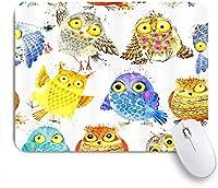 NIESIKKLAマウスパッド 水彩フクロウ鳥漫画の動物家族 ゲーミング オフィス最適 おしゃれ 防水 耐久性が良い 滑り止めゴム底 ゲーミングなど適用 用ノートブックコンピュータマウスマット