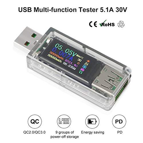 Innovateking-EU Multimetro USB Tester USB Misuratore USB per la misurazione e Il rilevamento della Tensione di Corrente con Display a Colori da 0,96 Pollici