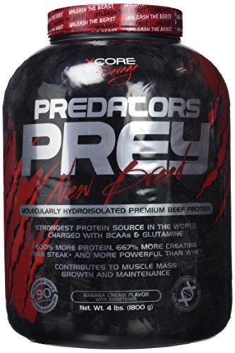 Predators Prey Pure Beef Protein Powder 1800 g: Sabor a crema de plátano – Suplemento de carne hidroaislado molecularmente de primera calidad con 36 g de proteína por dosis. ¡Ideal para musculación!