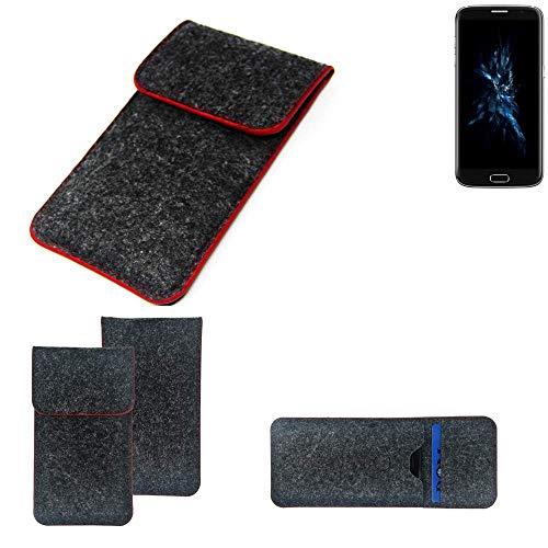 K-S-Trade Handy Schutz Hülle Für Bluboo Edge Schutzhülle Handyhülle Filztasche Pouch Tasche Hülle Sleeve Filzhülle Dunkelgrau Roter Rand