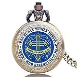 Nfudishpu Bibel Philipper 4:13 Jesus Christus Christian Design Taschenuhr Frauen Quarz Halskette Anhänger Anhänger Uhren Geschenk klein