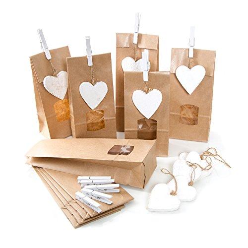 10 bruine geschenkzakjes papieren zakjes 10,5 x 6,5 x 29 cm met venster + 10 houten hartjes wit + 10 klemmen verpakking give-away gastgeschenken meegebeld voedsel