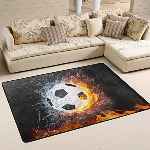 yibaihe leicht bedruckt Bereich Teppich Teppich Fußmatte Dekoratives Brennender Fussball Muster Wasserabweisend Leicht zu reinigen für Wohnzimmer Schlafzimmer, 91 x 61 cm