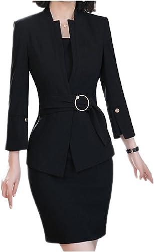 Andopa Fruncido de la cintura delgada del collar del soporte Blazer y el sistema del juego de vestir para muñeres negro XXL