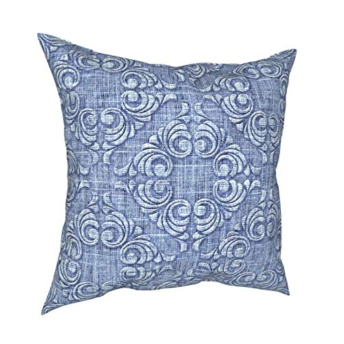 Kgblfd 3D Print Throw Pillow Cover Case,Damask Baroque Pattern On Denim Background,Modern Pillowcase for Sofa Couch Bed Car Set Home Decor 18'x 18' in Pillowcase Cushion Covers Zipper 2pcs