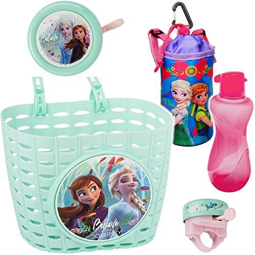 alles-meine.de GmbH 3 TLG. Set: Fahrradklingel + Fahrradkorb + Fahrradtrinkflasche mit Hülle & Halterung - Disney die Eiskönigin - Frozen - UNIVERSAL Ding Dong - 2 Klang - Klinge..