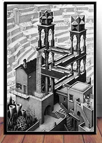 tgbhujk Escher Surreal Geometric Poster Wandkunst Leinwand Malerei Poster und Drucke Wandbild Room Decorative Home Decor 42x60cm Ohne Rahmen
