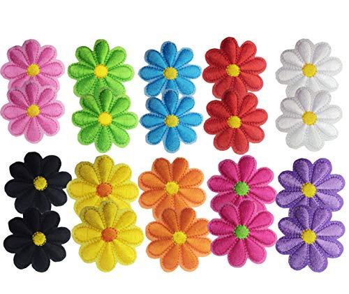 Geek-M 20 Pcs Iron On Patches Flower Applique Patches Mixed Color Decorative Patches