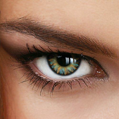 Farbige Jahres-Kontaktlinsen RAINBOW-412 - Ohne Stärke - Grün-Beige - bunt gestrichelt - von LUXDELUX® - (+/- 0.00 DPT)