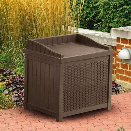 Stylish Resin Small Storage Seat Deck Box, Large 22-Gallon Storage Capacity, Contemporary Wicker Design, Long Lasting Resin Construction, Combines...